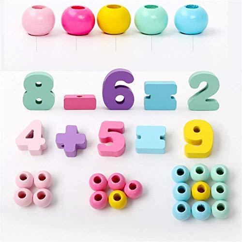 Detazhi Bloque de Madera Gran Encaje con Cuentas con Cuentas para niños Perlas de Rosca Puzzle de Rosca de Juguete Grandes Bloques Digitales de Madera 33pcs (Color: Multicolor, tamaño: 8.2x9cm)