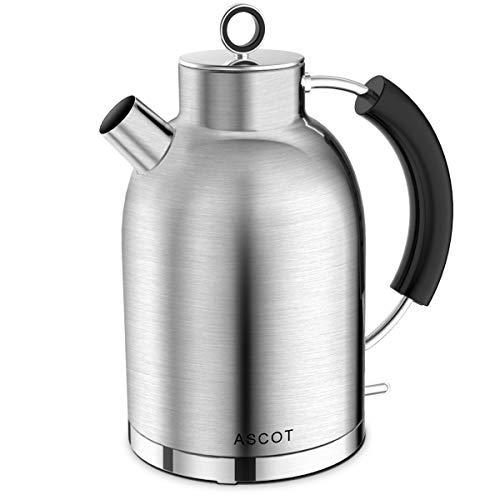 Wasserkocher Edelstahl, ASCOT Elektrischer Wasserkessel, 2200 W, 1,6 liter, Retro Design, kabelloser Teekocher, BPA frei, Trockengehschutz, automatische Abschaltung, (Matt)