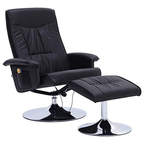 vidaXL Sillón de Masaje Reclinable y Reposapiés Cuero Sintético Descanso Muebles Interior Casa Hogar Diseño Estético Ergonómico Duradero Negro