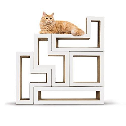 KATRIS Bundle of 5 Blocks | Modular | Multi-Functional | Cat Tree Condo Furniture System Pre-Attached White Mono Covers