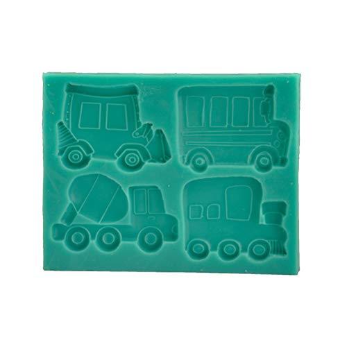Cabilock 1 Stück Haushaltskuchen-Backform Silikon Kuchenform LKW und Bus Form Design für Kuchen (grün)