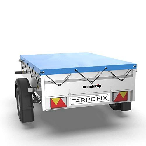 Tarpofix® Anhängerplane Flachplane mit Gummiseil 151x101 cm - randverstärkte Anhänger Abdeckplane - Ideal passend für Brenderup Kippi 150 & 1205 SUB 500 & diverse leichte 500 kg Hänger - PKW Plane
