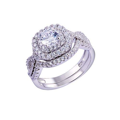 Newshe Wedding Band Engagement Ring Set for Women 925 Sterling Silver 1.8Ct Round White AAA Cz Size 8
