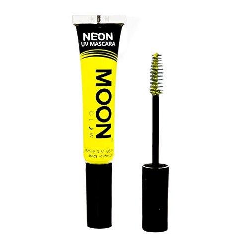 Moon Glow – Mascara néon UV 15ml Jaune. qui produisent un effet fluo incroyable sous la lumière ultraviolette ou noire !