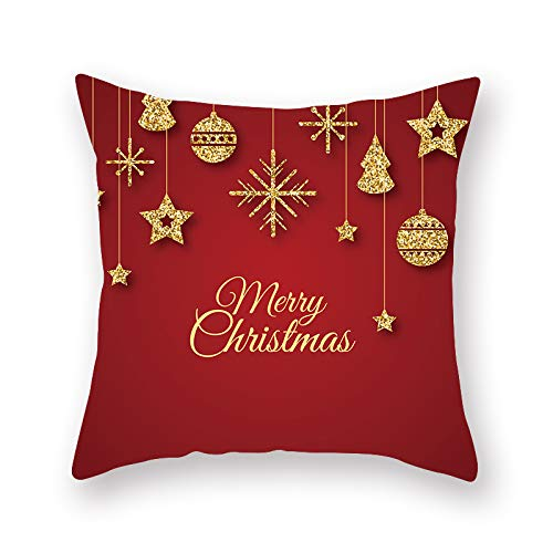 XINRJY 3D Christmas Print Pillowcase Bedroom Living Room Balcony Cafe Car Cushion Cover Polyester Stain-Resistant Soft Pillowcase