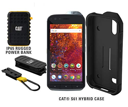 CAT S61 Single SIM 64GB Unlocked Smartphone with Integrated FLIR Thermal Imaging Camera, 10,000mAh Rugged Power Bank & CAT S61 Hybrid Case - North American Variant - 2 Year Warranty