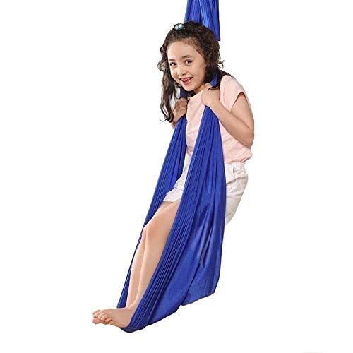 LHHL Altalena Bambini Esterno Aerial Yoga Swing Ultra Strong Yoga Amaca Grande Set di Inversione Air Fly Sling Amaca Trapezio per Interni E Esterni (Color : Blue, Size : 1m)