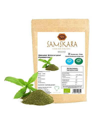 Estevia en Polvo natural molida pura | Stevia de cultivo Ecológica BIO origen Española | Hojas molida | Verde | Endulzante proceso natural raw | 100gr