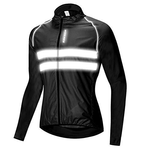 HTABY Reflective Jacket Men Women Windproof Cycling Windbreaker Mountain Road Bike Waterproof Jacket High Visibility,Black,XXXL
