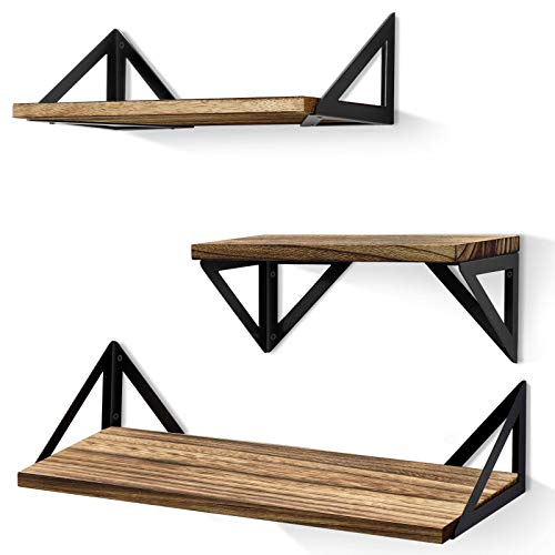 BAYKA Floating Shelves Wall Mounted, Rustic Wood Wall Shelves Set of 3 for Bedroom, Bathroom, Living Room, Kitchen, Dual Purpose Weight Bearing Shelves for Cats, Pictures, Towels, Accessories