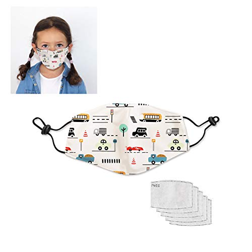 ARI MES Reusable Cloth Face Mask with 5 Replaceable Filter, Comfort Fit Adjustable Ear Loops, Double Layer Polyester Spandex Coverage, Nose Bridge (KIDS, Kids Cars)