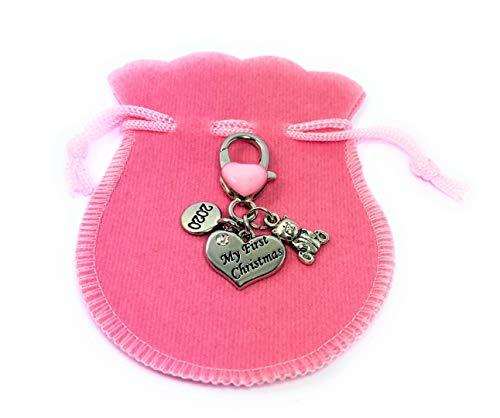 Bebé niña primera Navidad del bebé 2017recuerdo charms llavero con rosa terciopelo bolsa de regalo hecho a mano por Libby