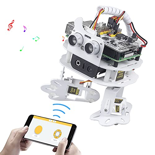 SunFounder PiSloth AI Programmable Robot Kit for Raspberry Pi, Dancing, Obstacle Avoidance, Object Following, TTS, Sound Effects, Background Music, Multi-Function DIY Bionic Robot for Kids and Adults