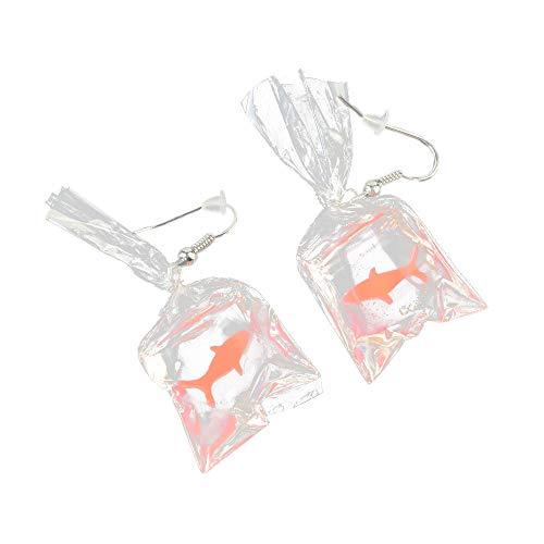Longra★❤️❤️ Pendientes Largos,Dibujos Animados Divertidos Goldfish Water Bags Design Charm Resina Pendientes