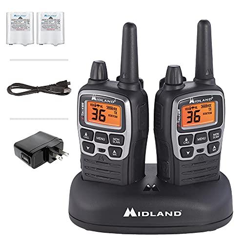 Midland - X-TALKER T71VP3, 36 Channel FRS Two-Way Radio - Up to 38 Mile Range Walkie Talkie, 121 Privacy Codes, & NOAA Weather Scan + Alert (Pair Pack) (Black/Silver)