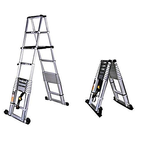 CKQ-KQ Ladders Aluminium telescopische Vouw Herringbone Ladder Huishoudapparaten Buiten Ladder (Color : 2.6+2.6m)