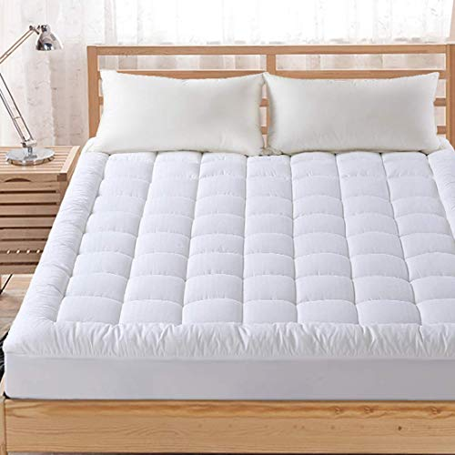 FAIRYLAND Twin Mattress Topper Pillow Top Cooling Washable Mattress Pad Cover Cotton with Snow Down Alternative Fill(8-21 Inch Deep Pocket)