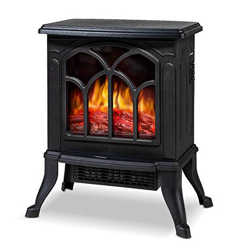 LIFEPLUS Fireplace Heater for Indoor Use, Electric Stove Heater with Realistic Dancing Flame Effect, Portable & Overheat Protection, Style Retro Frame Freestanding Fireplace Space Heater