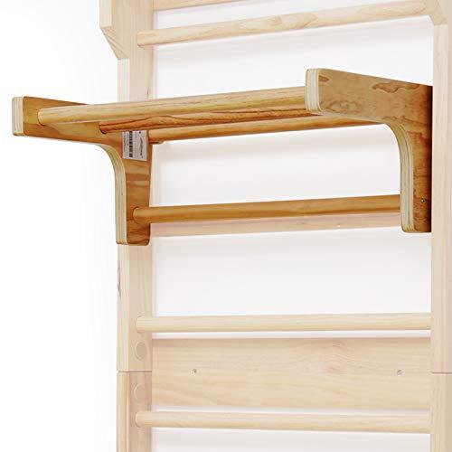Physionics Abnehmbare Klimmzugstange für Sprossenwand - belastbar bis 100 kg, 3 Sprossen, 73 x 45 x 27 cm, aus Holz, höhenverstellbar - Klimmzugbügel, Reckstange, Einhängebügel, Turnwand