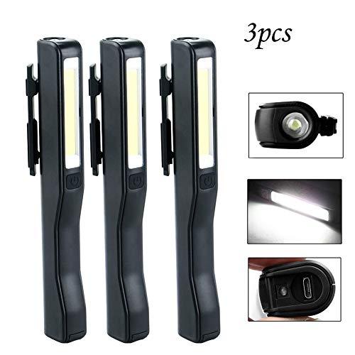Lot de 3 lampes de poche LED rechargeables et portables avec clip magnétique Noir