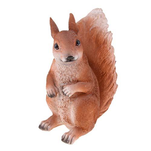 Écureuil artificielle Figurine Ornement Sculpture Animaux Statue 21 cm Marron