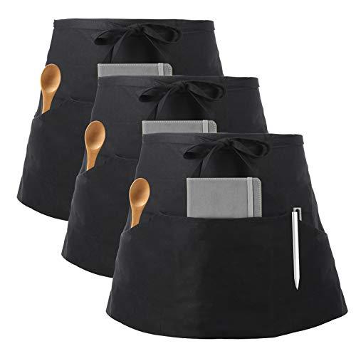 InnoGear 3 Pezzi Nero Cotone Grembiuli da Cameriera Cameriere Mezzo Grembiuli da Donne Degli Uomini Ristorante Bar Chef di Cucina Cuocere Grembiuli