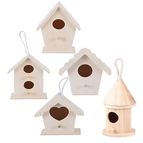 HEALLILY 5 Pezzi Incompiuti Decorazione per Casette per Uccelli in Legno Fai da Te Scricciolo Nido di Casa Nido Esterno Appeso Scatola da Riproduzione con Cordoncino di Iuta per Giardino (Colore)