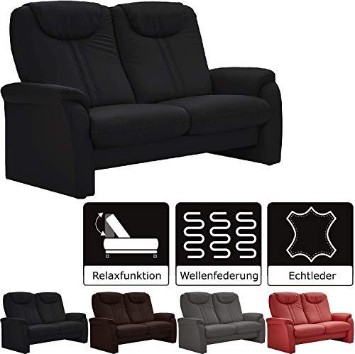 Cavadore 2-Sitzer Sofa Canta mit Relaxfunktion / Couch aus hochwertigem Leder / 161 x 109 x 90 / Echtleder Schwarz