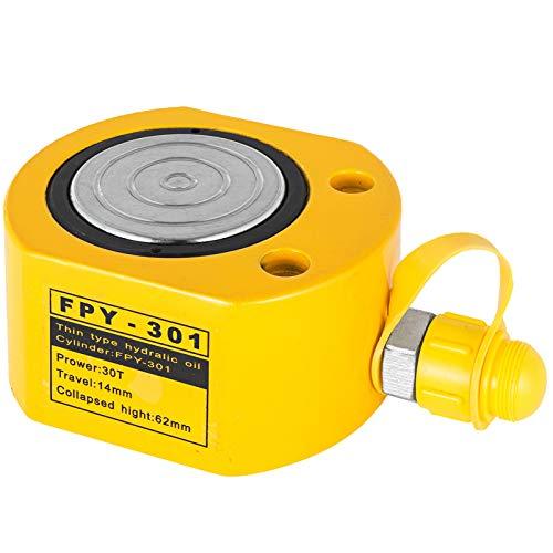 VEVOR Hydraulikzylinderheber Kapazität 30T Hydraulikzylinder 14 mm Hub Super dünn einfachwirkender tragbar gelb, hydraulische Wagenheber Hohlkolbenheber Hydraulikflasche 4,5 kg für Riggers-Hersteller