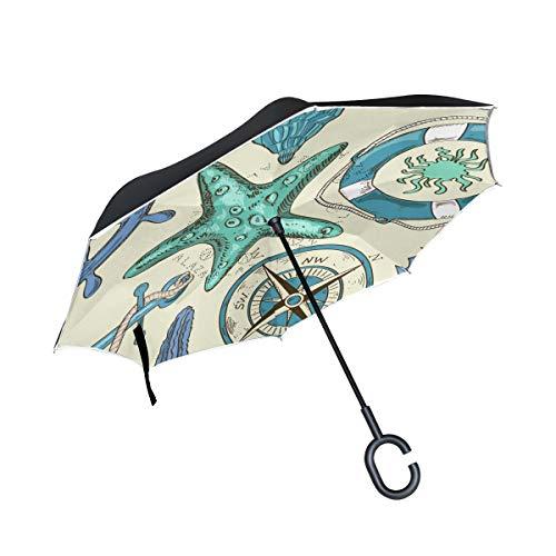 Schiffskompass Art Invertierter Regenschirm UV-Schutz Winddichter Umbrella Invertiert Schirm Kompakt Umkehren Schirme für Auto Jungen Mädchen Reise Strand Frauen
