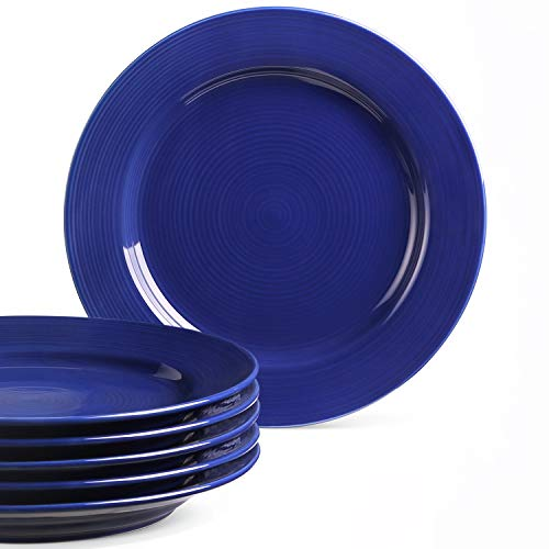 LE TAUCI Ceramic Dinner Plates Sets, Pasta Plates, 10 Inch - Set of 6,TRUE BLUE