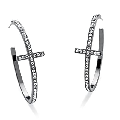 Black Ruthenium Plated Round Crystal Cross Hoop Earrings (40mm)