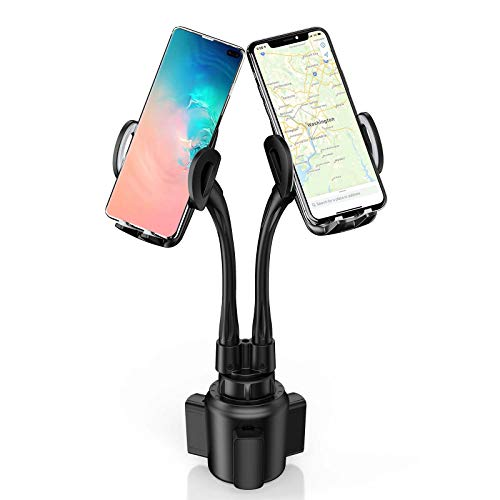 Dual Car Cup Holders Phone Mounts, Sopownic Cup Phone Holder for Car Gooseneck Adjustable Cell Phone Cup Holder for 2 Phones GPS iPhone Android Samsung