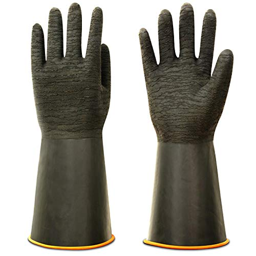 """ThxToms Heavy Duty Rubber Gloves, Versatile Latex Chemical Resistant Gloves, Upgraded with Anti-Slip Design, Soft and Thick, 14"""" 1 Pair"""