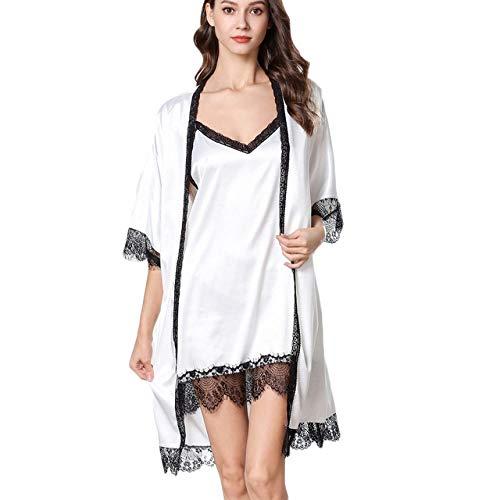 YPDM Summer pajamas, pajamas Woman sleeping clothes Women's Pajamas Solid V-Collar Robe Lingerie Sling Nightgown Sleeping 6.25,WH,L