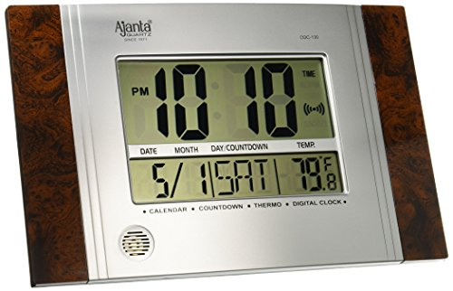 Ajanta Quartz Plastic Rectangle Digital Alarm Wall Clock (29 cm x 19 cm x 2.5 cm, Black, ODC 130)