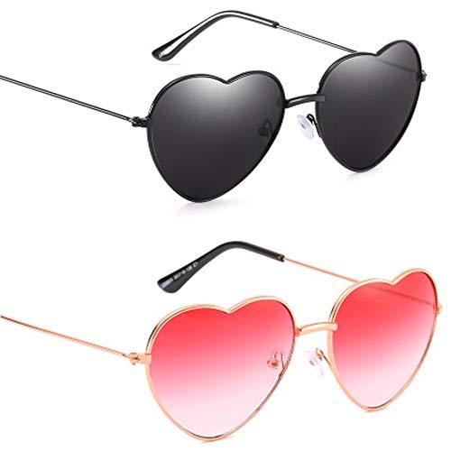 Vientiane Hippy Brille Herz Geformt Sonnenbrille, Rahmen Herzform Brille für Hippie Kostüm Zubehör