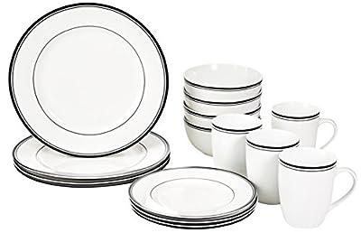 16 pc Cafe Stripe Dinnerware Set by AmazonBasics