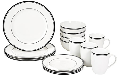 Amazon Basics 16-Piece Cafe Stripe Kitchen Dinnerware Set, Plates, Bowls, Mugs, Service for 4, Black