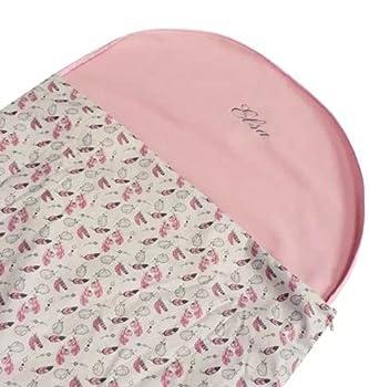 Sac de Couchage Brodé en Polaire pour Enfant de 2-6 Ans - Plusieurs Coloris Fabrication entièrement française (Plume Rose)