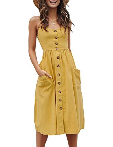 Yieune Sommerkleider Damen V Ausschnitt Casual Cocktailkleid Ärmellos Blumenmuster Strandkleid Party Abendkleid (Gelb S)