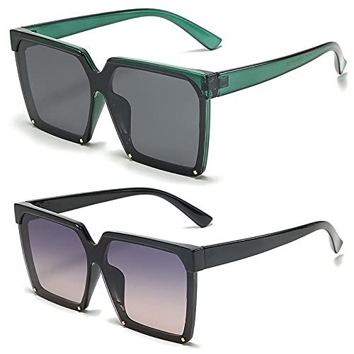 HFSKJ Pack de 2 Gafas de Sol, Gafas de Sol polarizadas Gafas con protección UV con Montura Retro Las Gafas de conducción Son adecuadas para Hombres y Mujeres,D