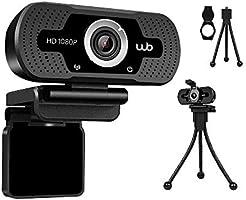 Webcam USB Full HD 1080P Microfone Embutido WB Amplo Ângulo 110° + Tripé