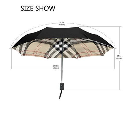 Ieararfre Regenschirm, kariert, dreifach faltbar, Winddicht, ergonomischer Griff, verstärkter Überdachung, automatisches Öffnen/Schließen mehrerer Farben