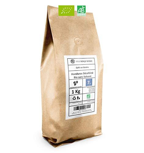 Café en grains Bio - Honduras décaféiné sans solvant - Paquet de 1 Kg avec Zip - 100% arabica - Torréfié artisanalement en France