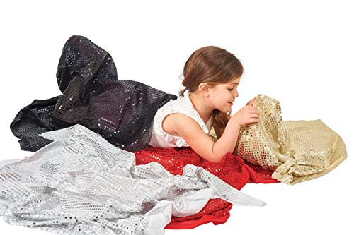 TickiT Sequins Fabric - Set of 4 - Colored Fabric - Dress-Up and Role Play for Kids