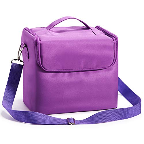 HST Beauty Make up Nail Art Cosmetics Box Vanity Case Jewellery Storage Cases with Carry Strap Nylon Fabric Purple