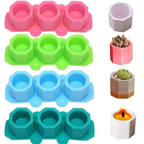 MeiMeiDa 4 Pack Mini Octagon Flower Pot Silicone Molds - Succulent Plant Planter Pot Mold Concrete Cement Plaster Molds, Silicone Ice Shot Glass Molds, DIY Craft Molds for Small Cactus or Seedlings