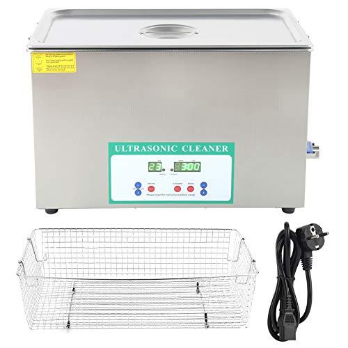 Limpiador ultrasónico, calentador de limpieza ultrasónico de 30 l, con tanque interior de acero inoxidable 304, ajustable de 0 a 80 ℃, para limpieza de la industria alimentaria, 220V(EU Plug)