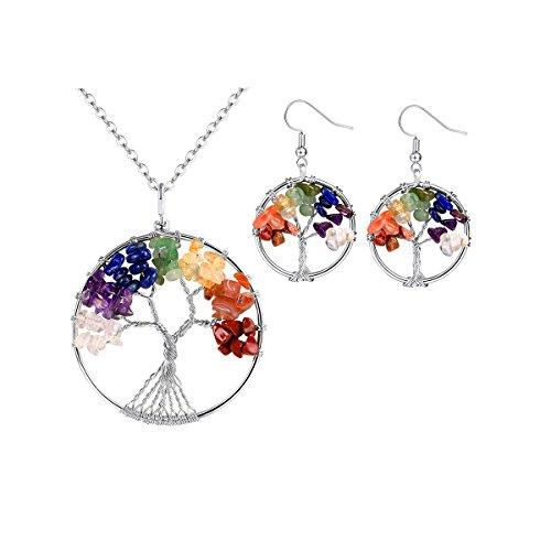 FOCALOOK Set Collares y Pendientes del Árbol de la Vida Símbolo de Chakra con Cristal de Roca Material Acero Inoxidable 316L Colores Plateados